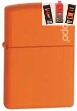 Zippo 231zl orange matte w/ logo Lighter + FUEL FLINT & WICK GIFT SET