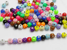 1000 Mixed Colour Acrylic Sparkling Silver Dots Round Beads 5mm