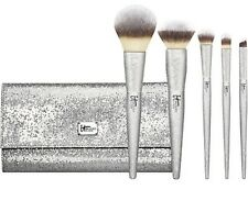 Authentic IT Cosmetics ALL THAT GLITTERS Silver Brush Set & Wrap BNIP Ltd Ed