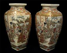 C19th Century Pair Satsuma Vases Unusual shape High Level Figure Decoration