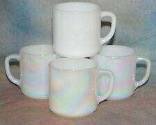 Vintage Federal Cups Pearl Lustre Iridescent Milk Glass White 4 Coffee Mugs
