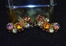 Vintage Karu Arke Austria Clip On Earrings,Gold Tone, Rhinestones and AB, Signed
