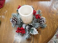 Winter Lane Flameless CANDLE CENTERPIECE On/Timer NIB! Batteries Inc Holly Cones