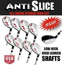 Left Handed OVERSIZE All Hybrid Iron Woods Complete FULL 3-4-5-6-7-8-9-PW Set