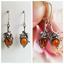 Baltic AMBER Earrings Genuine AMBER 925 Sterling Silver Drop DANGLE EARRINGS