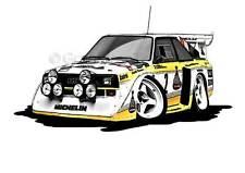 Audi Quattro s1-e2 Grupo B Rally Caricatura De Cartoon A4 impresión