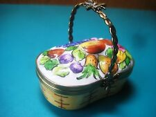 LIMOGES trinket FRUIT BASKET BOX pill French hand painted peint main France bee