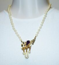 HOBE GOLD PLATED MAJORCA PEARL AMETHYST RHINESTONE PENDANT NECKLACE