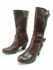 B.O.C. Born Concept Harness Boots Womens 6.5 Brown Leather Riding Cowboy Heels
