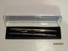 "2 TERZETTI Model ""SLIM"" PLUS GOLD+CHROME/GT BALLPOINT PENS-Slim Pen-Gift Box"