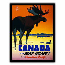 CANADA HUNTING METAL SIGN PLAQUE Vintage Retro Travel Holiday Advert poster