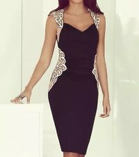 Lipsy Michelle Keegan Black Mesh Applique Bodycon Midi Dress Size 8 RP £85 RARE