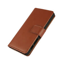 For Sony Xperia Z5 Compact Brown Genuine Leather Business Wallet Flip Case Cover