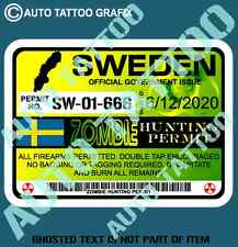 SWEDEN SWEDISH ZOMBIE HUNTING PERMIT DECAL STICKER FUNNY REANIMATED LIVING DEAD