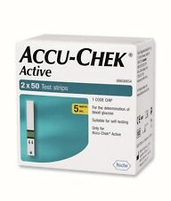 100 Test Strips for Glucometer Blood Glucose Accu-Chek Active - Expiry MAR.2018