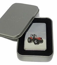 Massey Ferguson Red Tractor Lighter Enamel Badge NO FUEL INC Smoking Gift Boxed