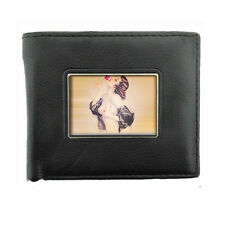 Black Bifold Leather Material Wallet Pin Up Girl D 10 Vintage Rose