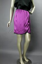 $850 New with Tags MARC JACOBS Satin Purple Black Wrap Pleated Silk Skirt 12