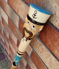 Popeye Sailor Cane Walking Stick Wooden Handmade Wood Carving Exclusive Folk Art