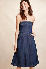 NEW ANTHROPOLOGIE Strapless Denim A-Line Dress 2P XS 2 Petite by Holding Horses