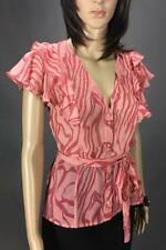 ** DECJUBA ** Size 12 Pink Womens Work Occasion Top Blouse With Ruffles