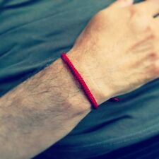 Handcrafted Fair Trade RED Wax COTTON Classic Thai Buddhist WRISTBAND Wristwear
