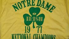 VINTAGE NOTRE DAME 1977 NATIONAL CHAMPS SCREEN STARS LARGE  TEE 19 X 24