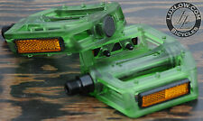 "Green Clear Iped Platform Bike Pedals 9/16"" BMX MTB Cruiser Fixie Track Bicycle"