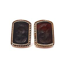Victorian 14k Rose Gold Carved Sardonyx Soldier Intaglio Cufflinks 9.2gr