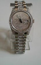 Mens Designer Style hip hop CZ Bling clubbing Silver finish with date watch