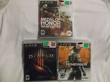 PS3 Game Lot.  Remember Me, Medal of Honor:Warfighter, & Diablo 3