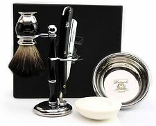 5 Pieces Gift Set For Him. The Set Includes (Badger hair Brush,Razor,Stand,Bowl)