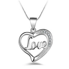 Charming Silver Plated Love Heart Pendant Necklace Chain Crystal Charm Gifts