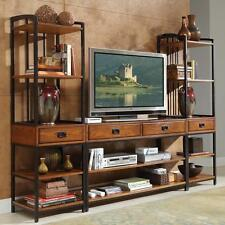 Entertainment Center TV Stand Media Console Bookcase Tower Industrial Rustic Set