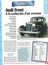 Audi Front 1934  GERMANY DEUTSCHLAND ALLEMAGNE  Car Auto FICHE FRANCE