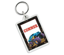 (MONSTER TRUCK) PERSONALISED BAG TAG KEYRING-SCHOOL/BIRTHDAYS/GIFTS/KIDS/TOY/BOY