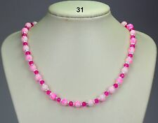"Pink/white mottled glass bead & cerise crystal necklace, silver bead caps 19""+2"