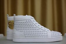 NEW CHRISTIAN LOUBOUTIN Louis Flat Spikes White Gold Leather Sneakers Shoe EU42