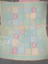 Handmade Mint Green Baby Puppy Bunny Chick Quilt & Pillow NEW Unique