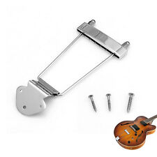Chrome 6 String Guitar Tailpiece Trapeze Open Frame Bridge For Archtop Guitar