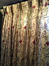 """VINTAGE 'CUSTOM MADE'  FULLY LINED COTTON SET PLEAT DRAPES -80"""" W X 90"""" L"""