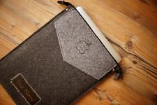 New iPad PRO 12.9‑inch Felt Sleeve Case Cover Bag - ZIP with your LEATHER NAME