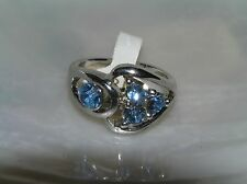 Estate Open Silvertone with 3 Blue Rhinestone & One on Side Ring Size 7.5 – top
