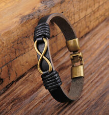 Black Cool Men Leather Hemp Infinity Friendship Bracelet Bangle Wristband