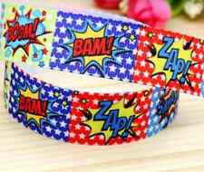 "1M 22mm 7/8"" BAM POW ZAP GROSGRAIN RIBBON CAKE CRAFT GIFTS DECORATION BOY PARTY"
