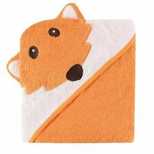 Luvable Friends Animal Face Hooded Towel, Orange Fox 100% Cotton Terry