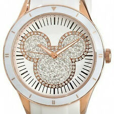 Disney White and Rose Gold Crystal Silicon Icon Mickey Mouse Watch for Adults