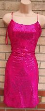 Yessica rosa fucsia Mini Paillettes Lustrini Strappy Bodycon Party Dress 10