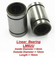 2 x Linear Bearings LM6UU Roulements Linéaires 6 x 12 x 19mm LM6UU