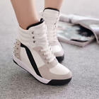 Hot Fashion Womens Fashion High Top Rivet Trainer Shoes Mid Wedge Heel Sneakers
